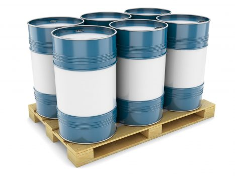Barrels steel blue pallet tray isolated oil tanks water metal